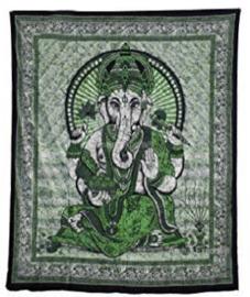 Bedsprei / wandkleed Ganesha groen 200 x 220 cm