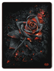 Spiral Direct - Burnt Rose - fleece deken met dessin van een roos - 150 x 200 cm