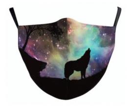 Galaxy wolf herbruikbaar gezichtsmasker 13 x 39 cm