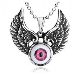 Roze boze oog met vleugels ketting 316 titanium staal - 3 x 4 cm