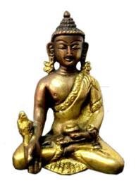 Thaise Medicijn-boeddha twee kleuren messing 8 cm hoog