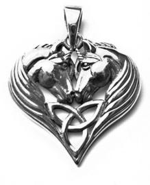 925 zilveren kettinghanger Unicorns in Heart - dessin Lisa Parker 2.5×2.7cm