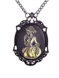 Gothic horror steampunk camee ketting skelet in jurk