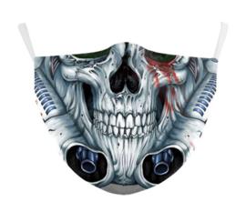 Mechanische doodskop herbruikbaar gezichtsmasker 13 x 39 cm