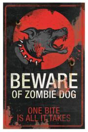 Metalen wandbord Zombie Dog - 40 cm hoog