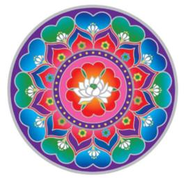 Raamsticker Lotus Heart Mandala - 14 cm Ø