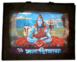 Zwarte canvas shopper Shiva