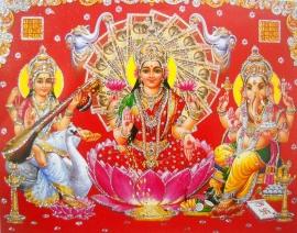 Hindu poster Lakshmi Ganesha Saraswati 6 - 23 x 29 cm