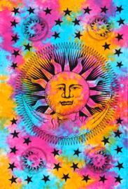 Bedsprei wandkleed eenpersoons Zon en Maan gekleurd 1  - 120 x 220 cm
