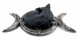 Alchemy The Vault - Witches Familiar - Wicca decoratie - Kat in drievoudige maan met roos - 20.5 cm breed