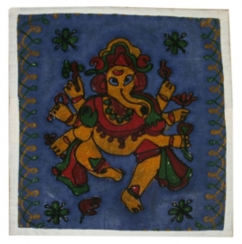 Indiase geborduurde kussenhoes Ganesha blauw - 38 x 38 cm