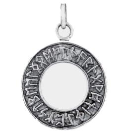 925 Sterling zilveren kettinghanger runetekens - 2 cm doorsnee