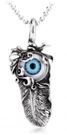 Blauwe boze oog met veer ketting 316 titanium staal - 5.5 cm lang