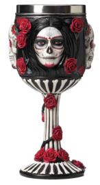 Kelk Sugar Skull Doodskop Dia de Muertos met rozen - 19.5 cm