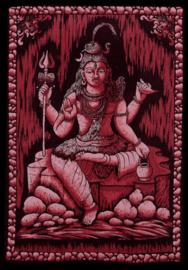 Indiase wandkleed muurkleed katoen Shiva driekleurig zwart wit rood - c.a.  80 x 110 cm