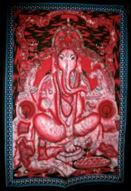 Indiase muurkleed wandkleed Ganesha rood dessin 1 c.a.  80 x 110 cm
