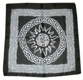 Bandana / altaarkleed / tafelkleed Keltisch Zon zwart - 65 x 65 cm