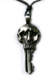 Pewter hanger doodskop sleutel