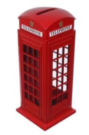 Metalen spaarpot Brits telefooncel 14.5 cm hoog