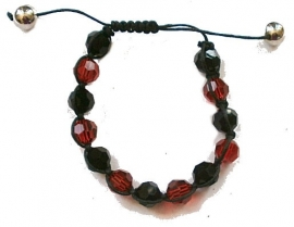 Shamballa glass beads red black