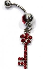 Navelpiercing strass sleutel rood - 5 cm lang