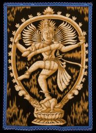 Indiase wandkleed muurkleed katoen dansend Shiva geel - c.a.  80 x 110 cm