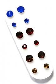 Setje van 6 maar strass oorbellen in doos - rood blauw