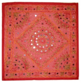 Indiase katoenen kussenhoes spiegeltjes rood - 40 x 40 cm
