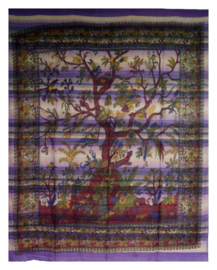 Bedsprei wandkleed levensboom tree of life violet 240 x 210 cm grove weef