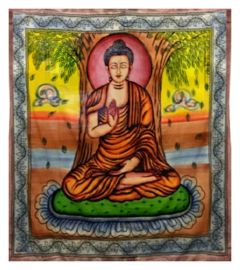 Indiase katoenen bedsprei wandkleed Boeddha gekleurd - 210 x 240