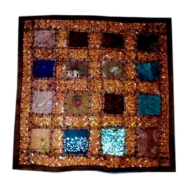 Cushion cover patchwork Indian cotton dark brown
