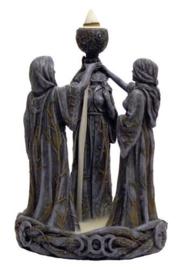 Maiden, mother, crone - *backflow* wierookkegel brander - 18 cm hoog