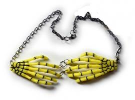 Harajuku skeletale handen nekketting neon geel