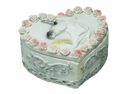 Sieradendoos eenhoorn met rozen hartvormig - 10.5X8.5X5.5cm