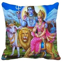 Kussenhoes Shiva, Parvati, Nandi en leeuw - 45 x 45 cm