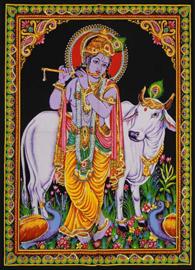 Indiase wandkleed muurkleed katoen Krishna met Heilige Koe - c.a. 80 x 110 cm