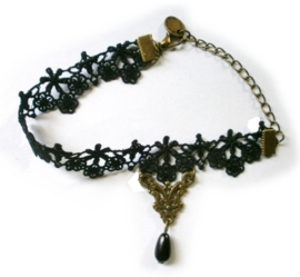 Gothic vintage kanten enkelband zwarte kraal