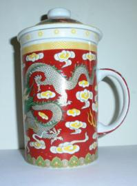 Driedelige porseleinen theemok - 14 x 7 cm - Rode Draak