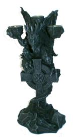 Kandelaar Draak op Keltisch Kruis - 30 cm hoog