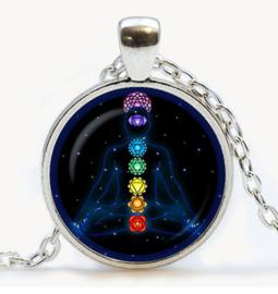 Glazen ketting met hanger boeddha met Chakra tekens