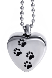 Crematie assieraad nekketting 316 roestvrije staal kat hond voetprenten op hart -  2.5 cm hoog
