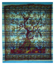 Bedsprei wandkleed levensboom tree of life turquoise / groen 240 x 210 cm grove weef