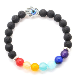 Chakra balancing natuurstenen armband zwart lavasteen en 7 gekleurde semi edelstenen en hamsa met boze oog