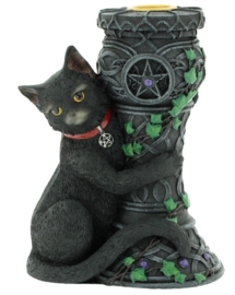 Midnight - zwarte kat met kaarsenhouder - 15 cm hoog