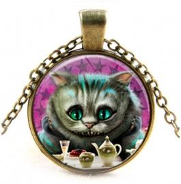 Glazen hanger met ketting Alice in Wonderland Cheshire Cat 7