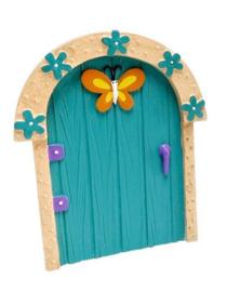 Fee deurtje turquoise met gele vlinder - 11 cm hoog