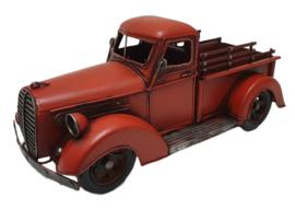 Miniatuur auto oldtimer truck rood - 32  x 14,5  x 14,5 cm