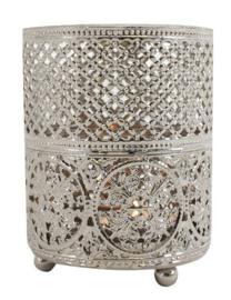Zilverkleurige metalen theelichthouder van een Marokkaanse dessin