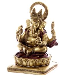 Beeld Ganesha rood goud 14 cm hoog
