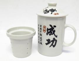 Driedelige porseleinen theemok - 14 x 7 cm - Succes - Chinese tekens